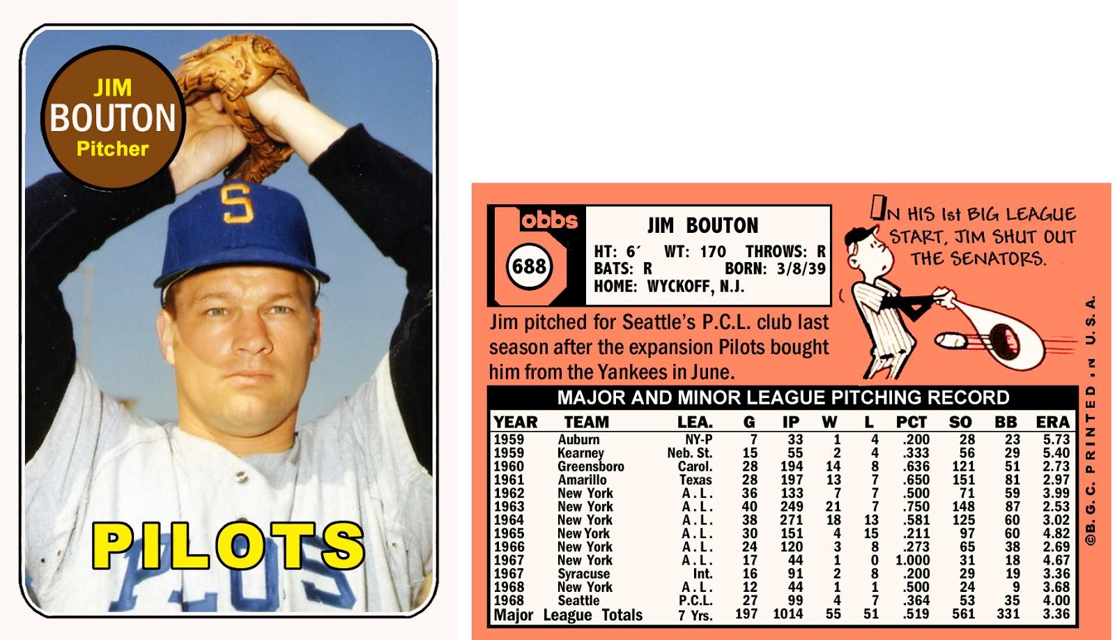 Bob Lemke's Blog: Custom cards feature Bouton with Pilots (1969 ...